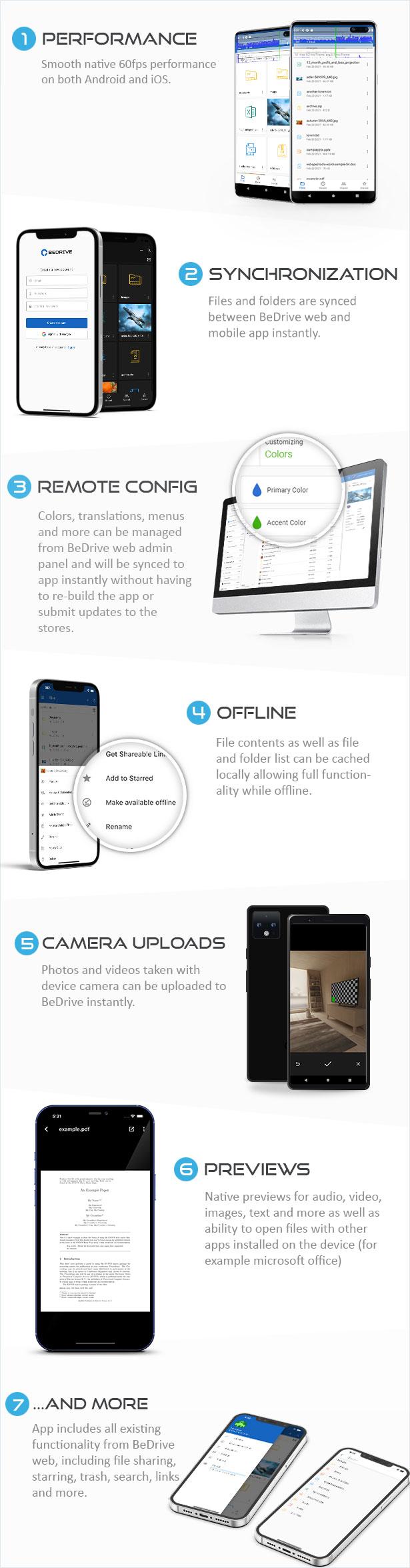BeDrive Mobile - aplicativo nativo Flutter Android e iOS para File Storage PHP Script - 1